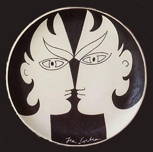 cocteau (1889-1963) disocures 1958 plat céramique