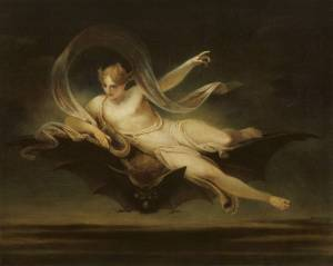 Ariel on a Bat's Back exhibited 1819 by Henry Singleton 1766-1839