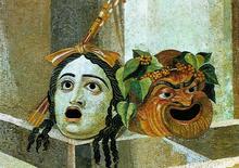 masques du théâtre antique, tragédie et comédie, mosaïque, 2è S.